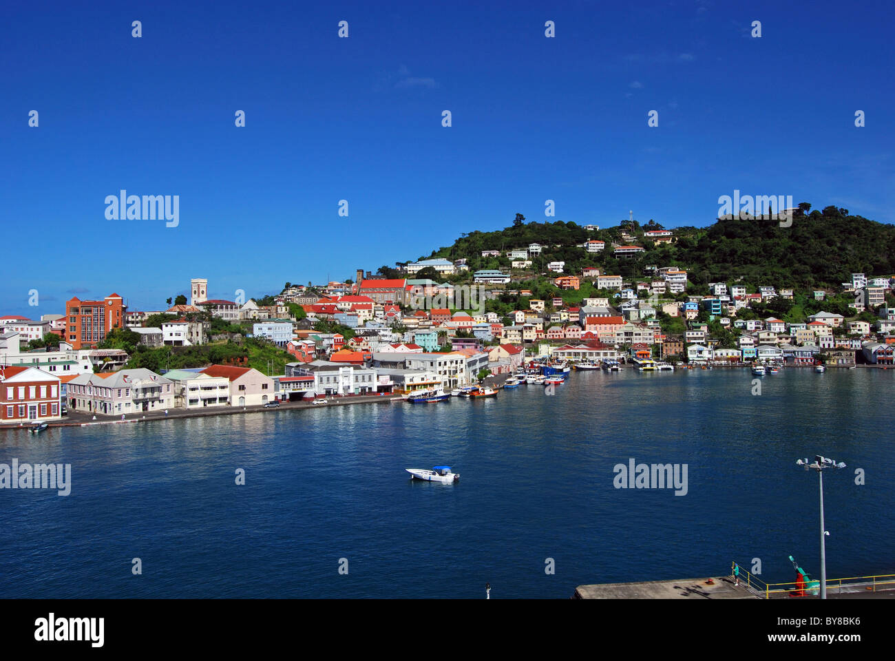 View of the town the coastline, St. George's, Grenada, Caribbean. Stock Photo