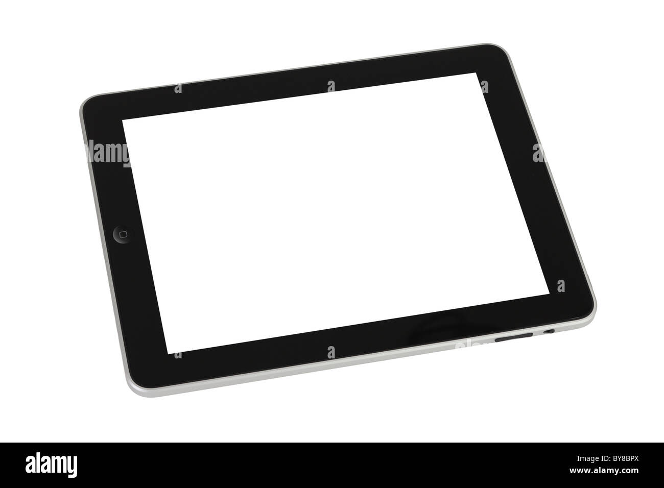 Apple ipad cutout on white background with blank screen - Stock Image
