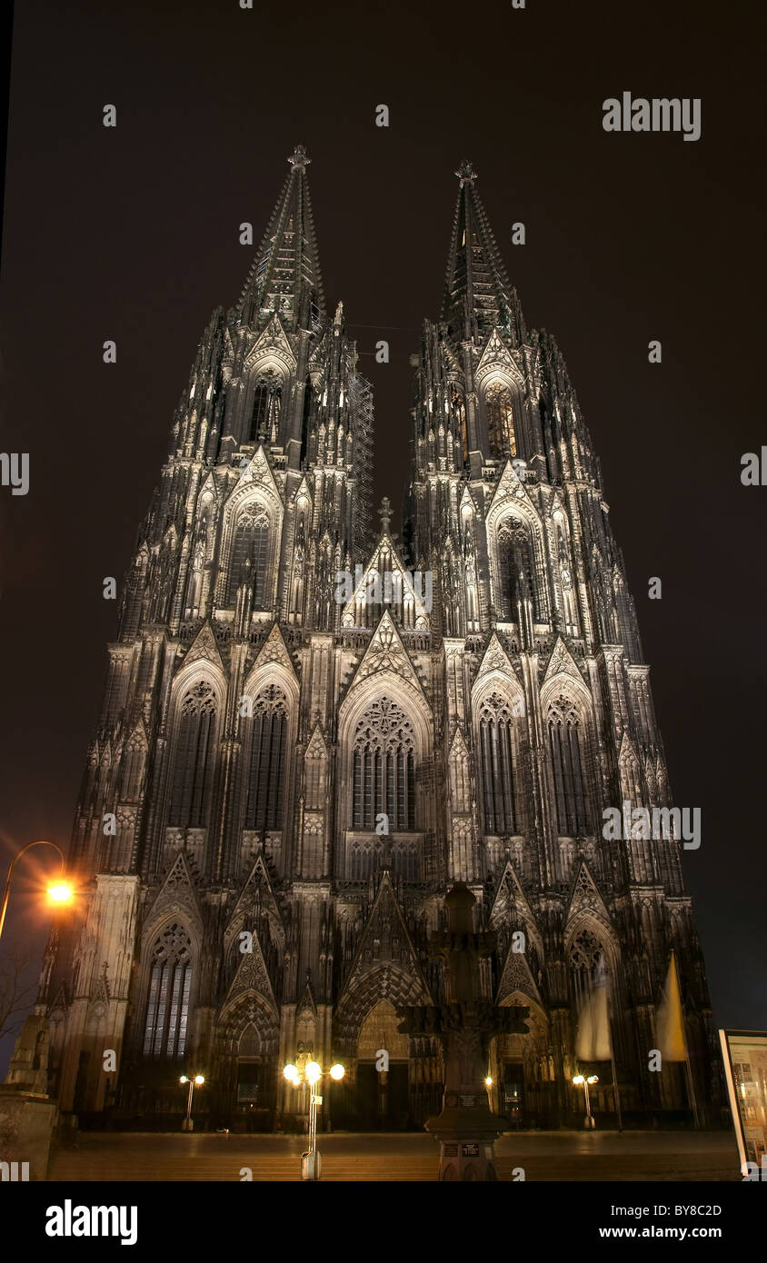 The Cologne cathedral at Night - Stock Image