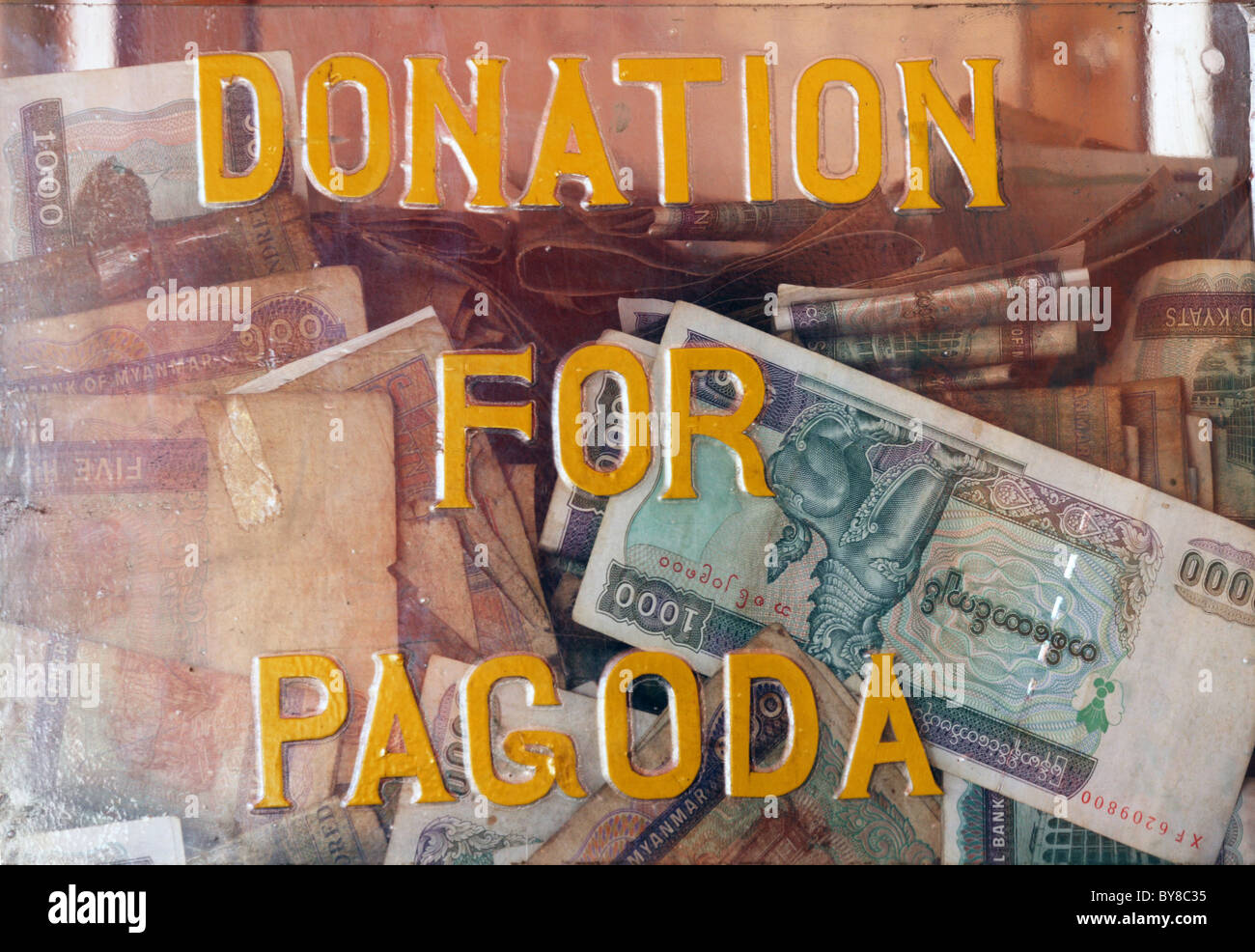 Burma,Birma,Myanmar, 20100223, DONATION FOR PAGODA - Stock Image