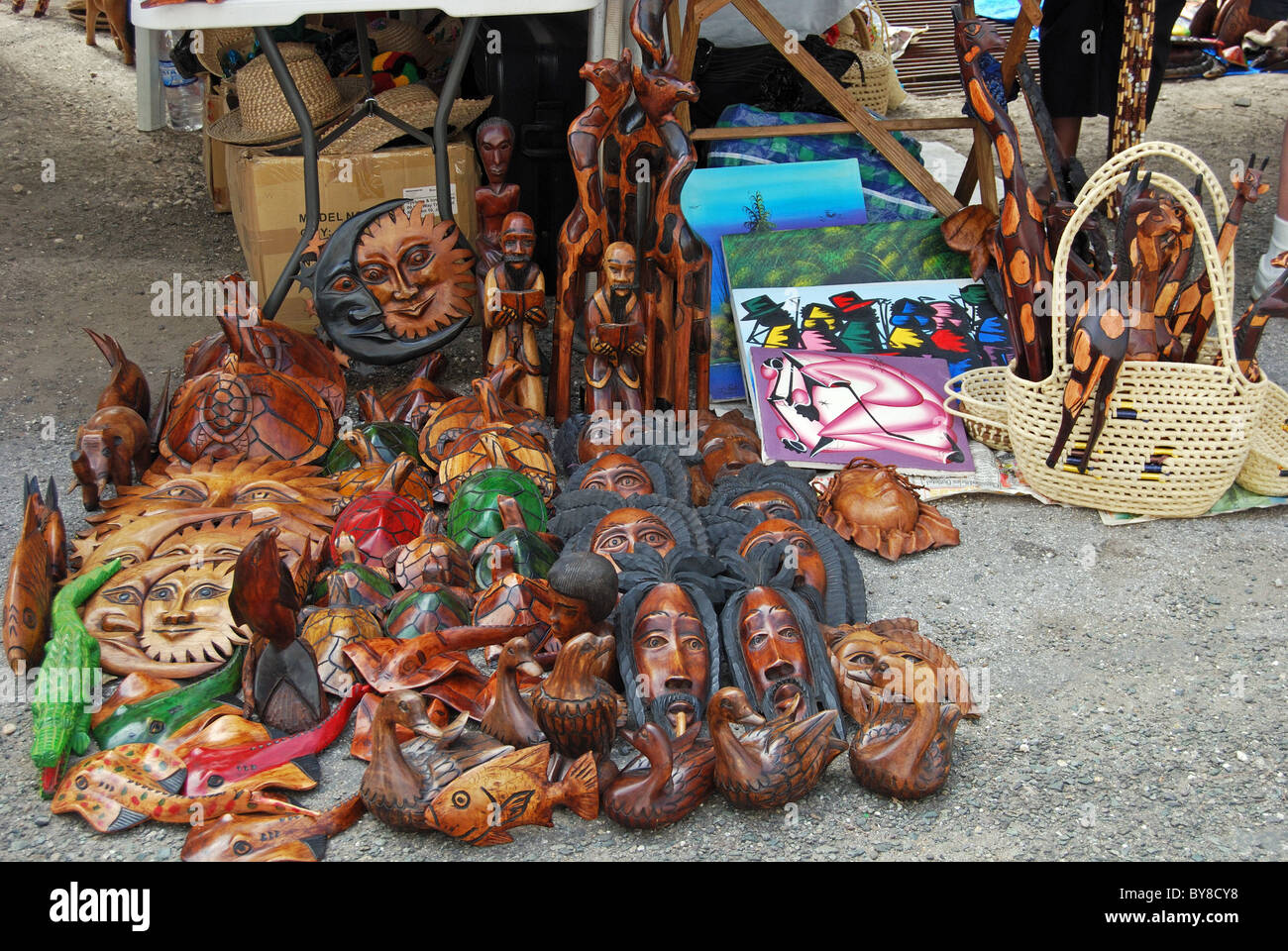 Carved wooden souvenirs for sale on the quayside montego for Jamaican arts and crafts for sale