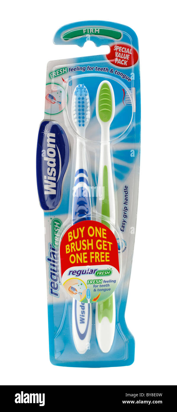 Special value pack buy one get one free Wisdom firm toothbrushes - Stock Image