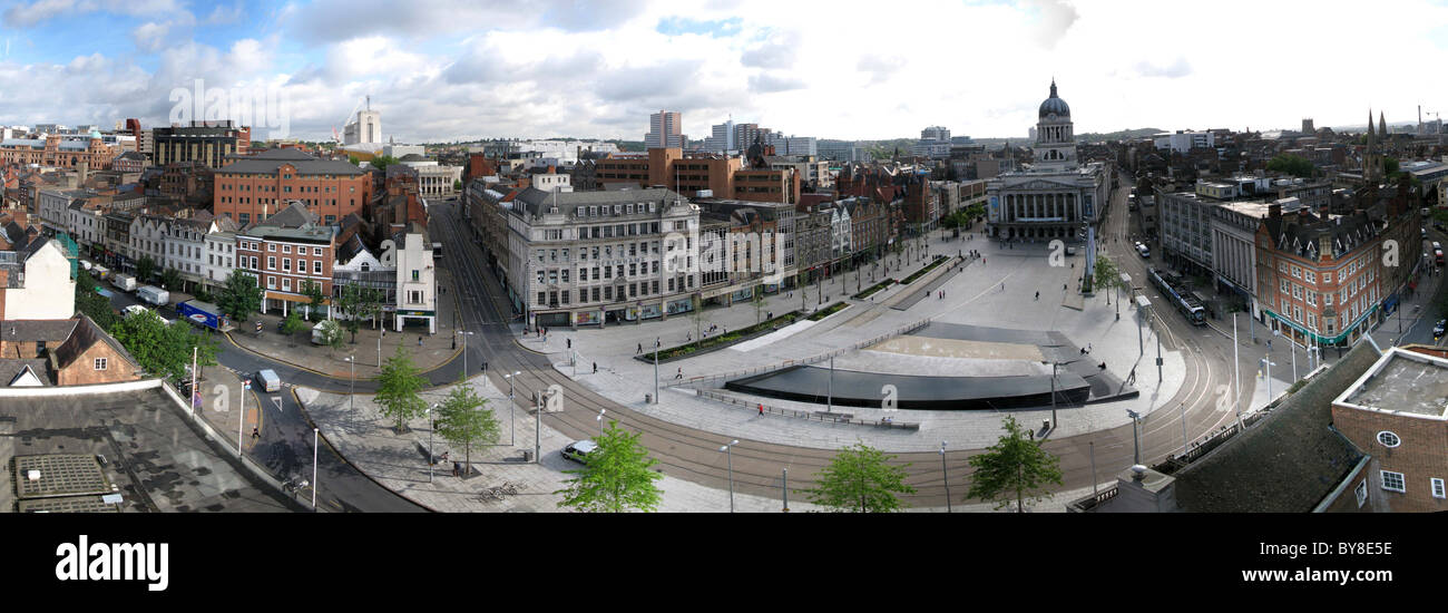 Nottingham Old Market Square and council house panorama - Stock Image