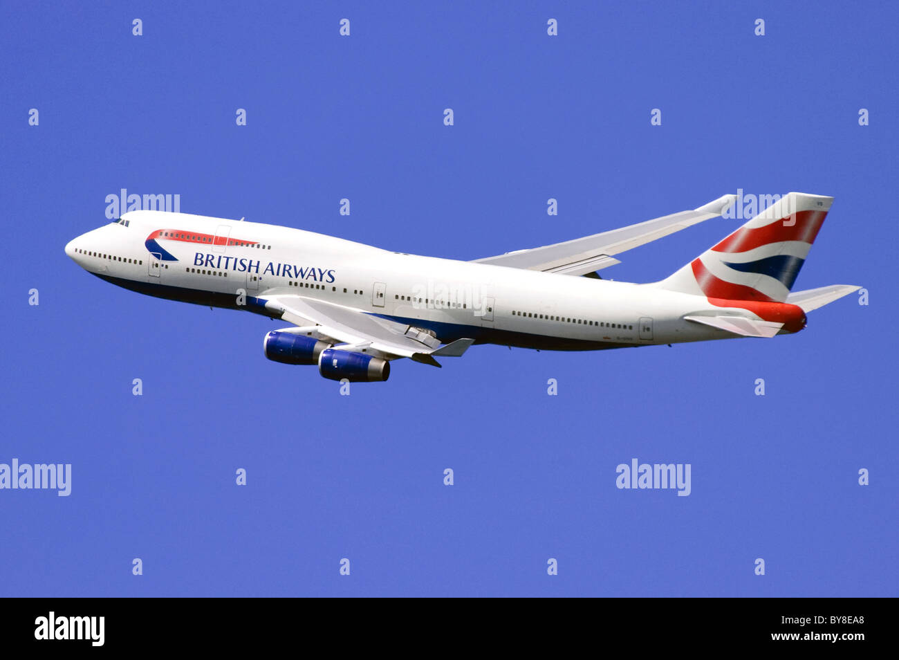 British Airways Boeing 747 jumbo jet climbing out after take off from London Heathrow Airport Stock Photo