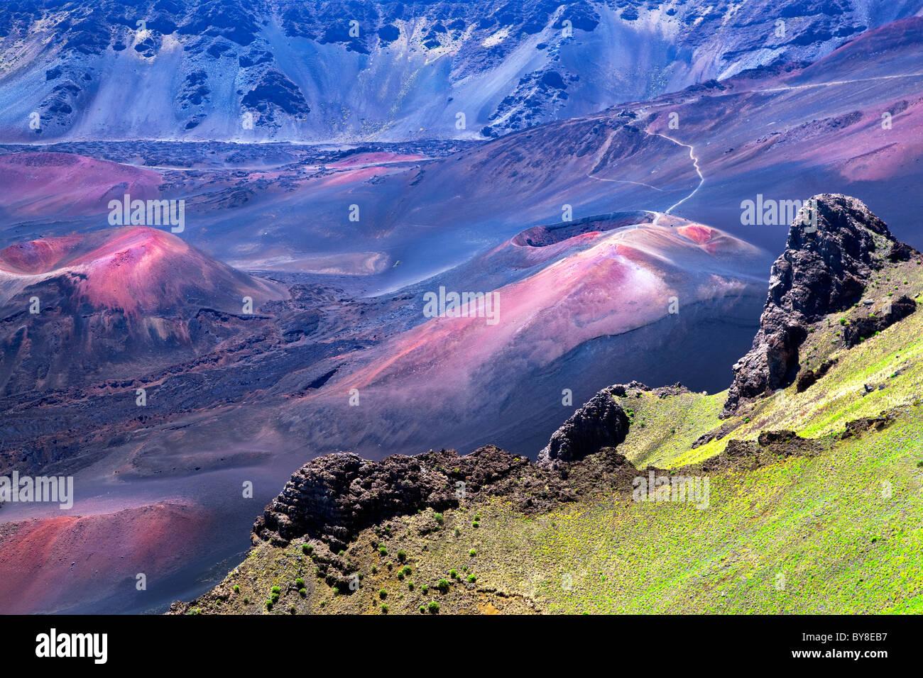 Volcanic craters. Haleakala National Park, Maui, Hawaii Stock Photo