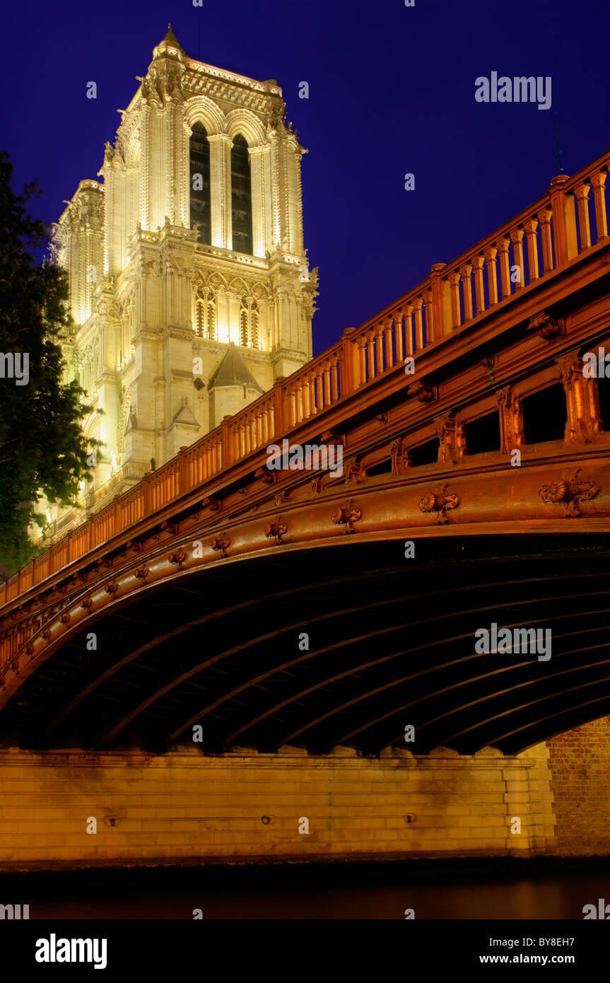 Notre Dame de Paris and Pont au Double in Paris at night - Stock Image