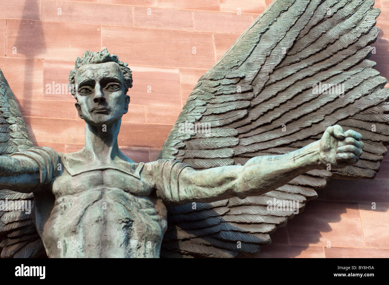 St Michael's Victory over the Devil, sculpture by Sir Jacob Epstein at St Michael's or Coventry Cathedral, - Stock Image