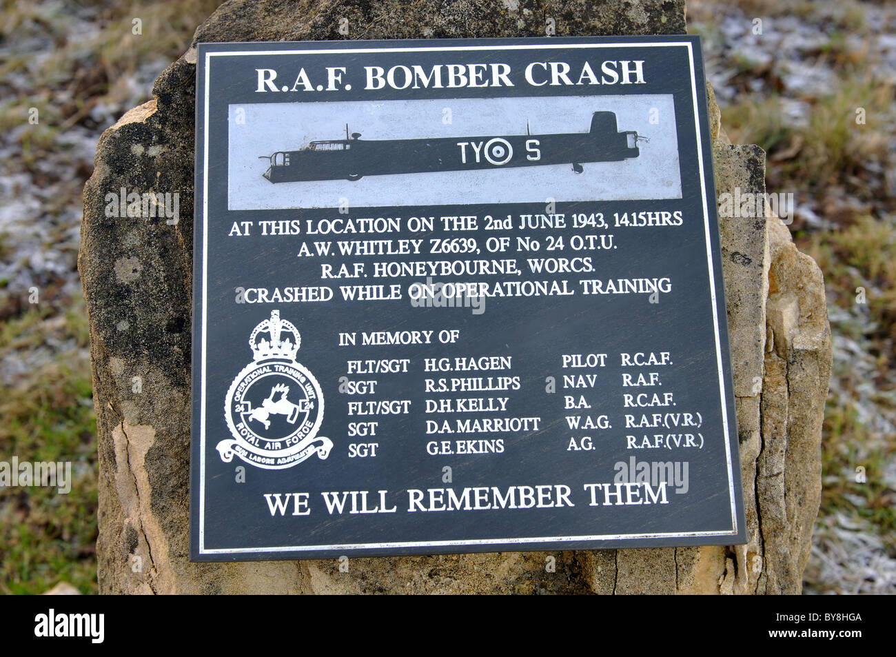 Wartime air crash plaque near Broadway Tower, Worcestershire, England, UK - Stock Image