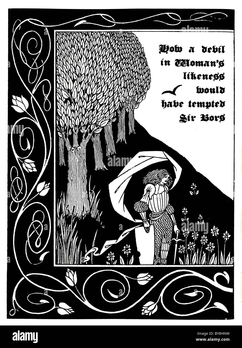 Aubrey Beardsley - - The Death of Arthur 1893 - Dent Publishing ' How a Devil in Woman's likeness would - Stock Image