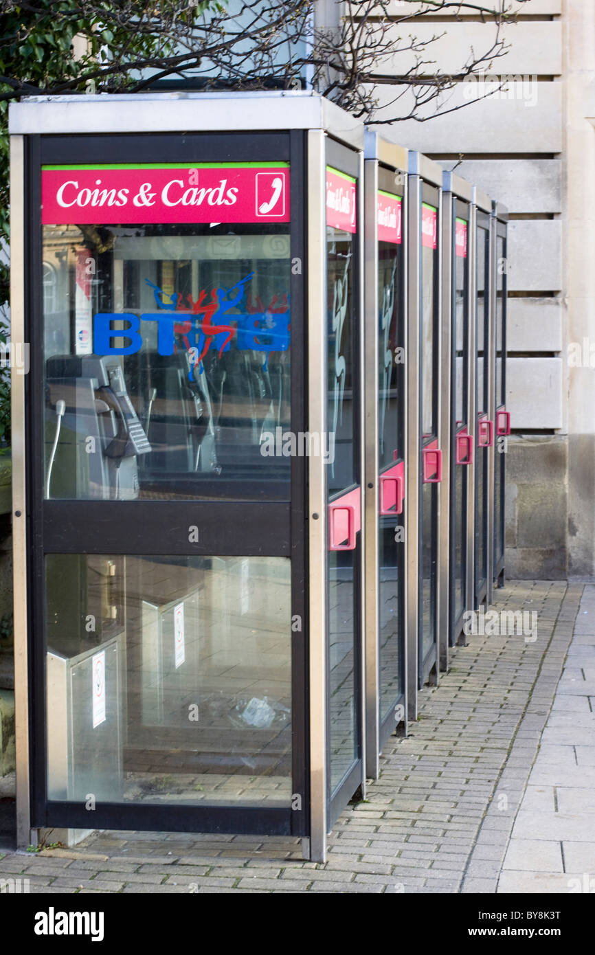 A row of New Telephone Boxes Stock Photo
