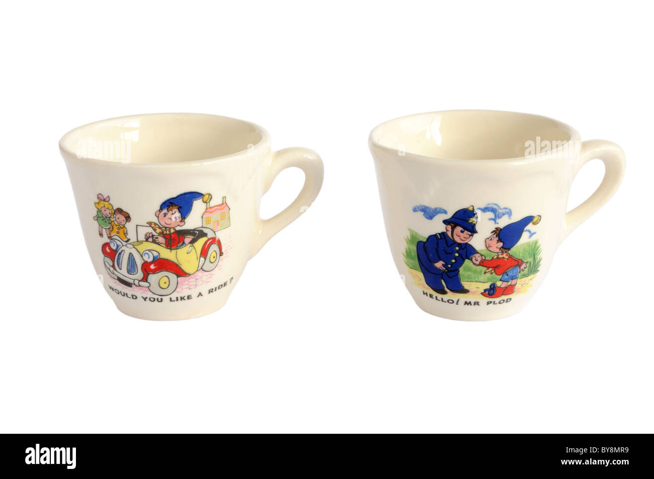 Cups from a Noddy doll's tea set - Stock Image