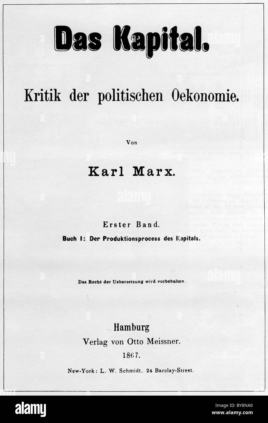 DAS KAPITAL Title page of the first volume of Karl Marx's  critique of capitalism published in Hamburg in 1867 - Stock Image
