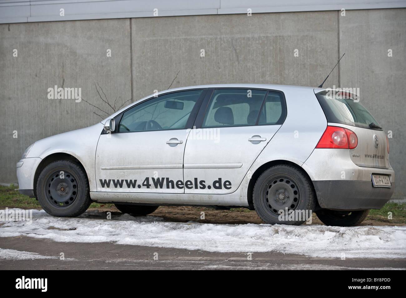 German car hire company 4Wheels.de VW Golf, Dusseldorf, Germany. - Stock Image