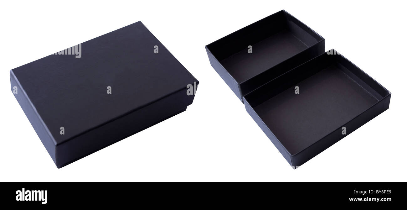black gift box open and closed on a white background - Stock Image