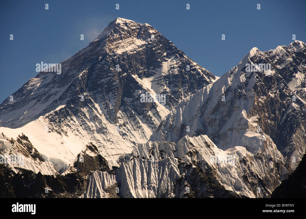 closeup of Mount Everest taken from Gokyo Ri in the Solo Khumbu region of Nepal - Stock Image