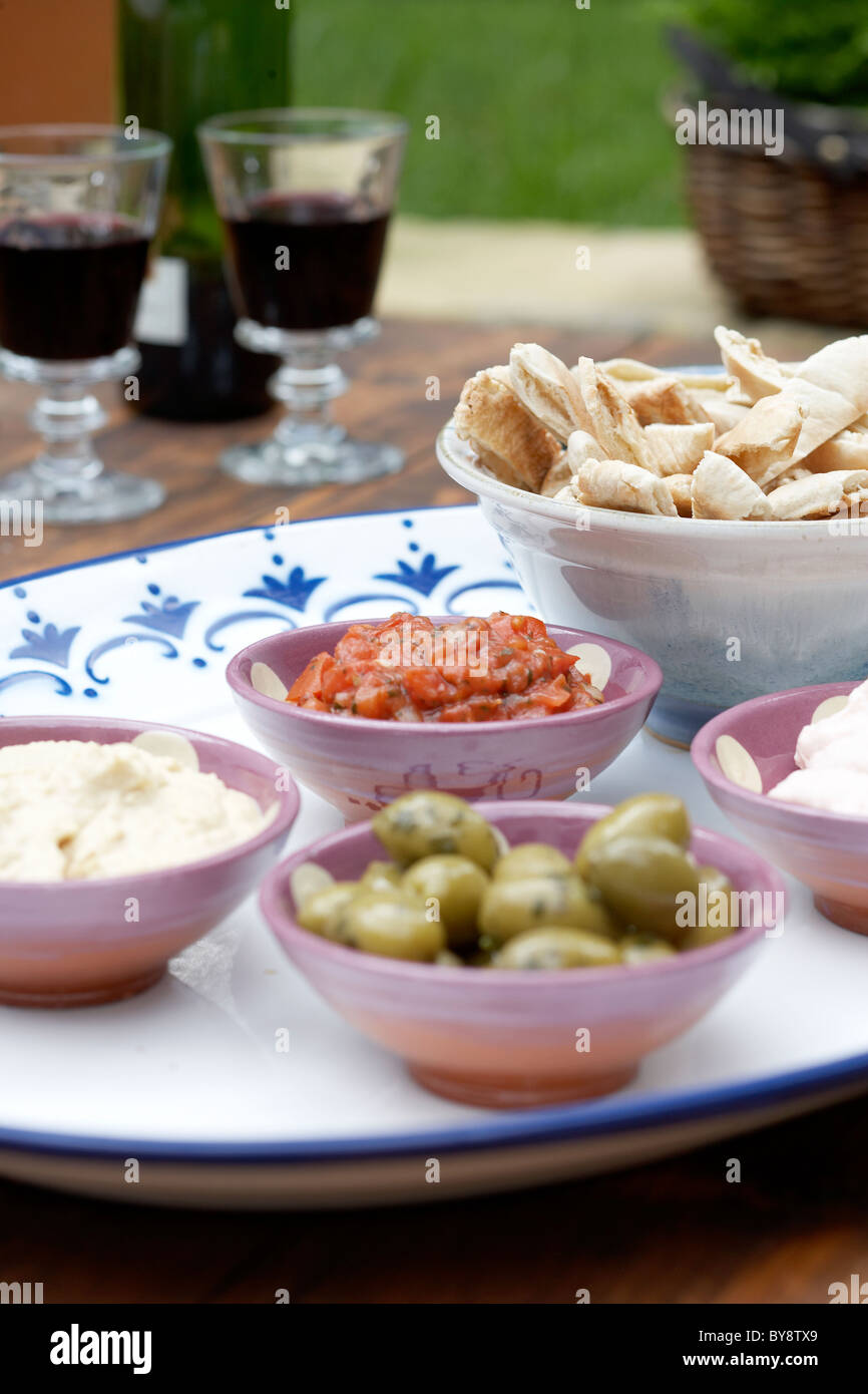 Snacks on a tray - Stock Image