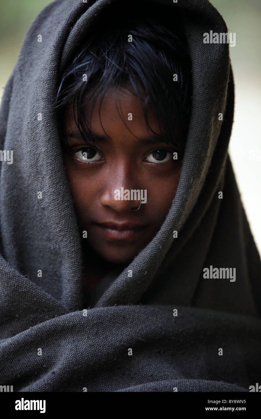 beautiful cute muslim girl in bangladesh asia stock photo: 34001889