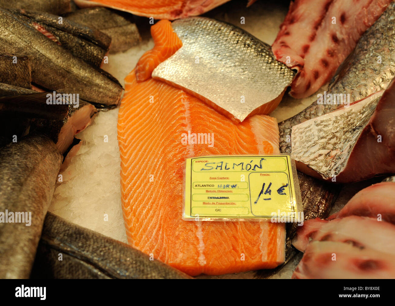 Salmon is pictured at a fish booth on a fish market in Jerez de la Frontera, southern Spain, on Thursday, Dec 30, - Stock Image