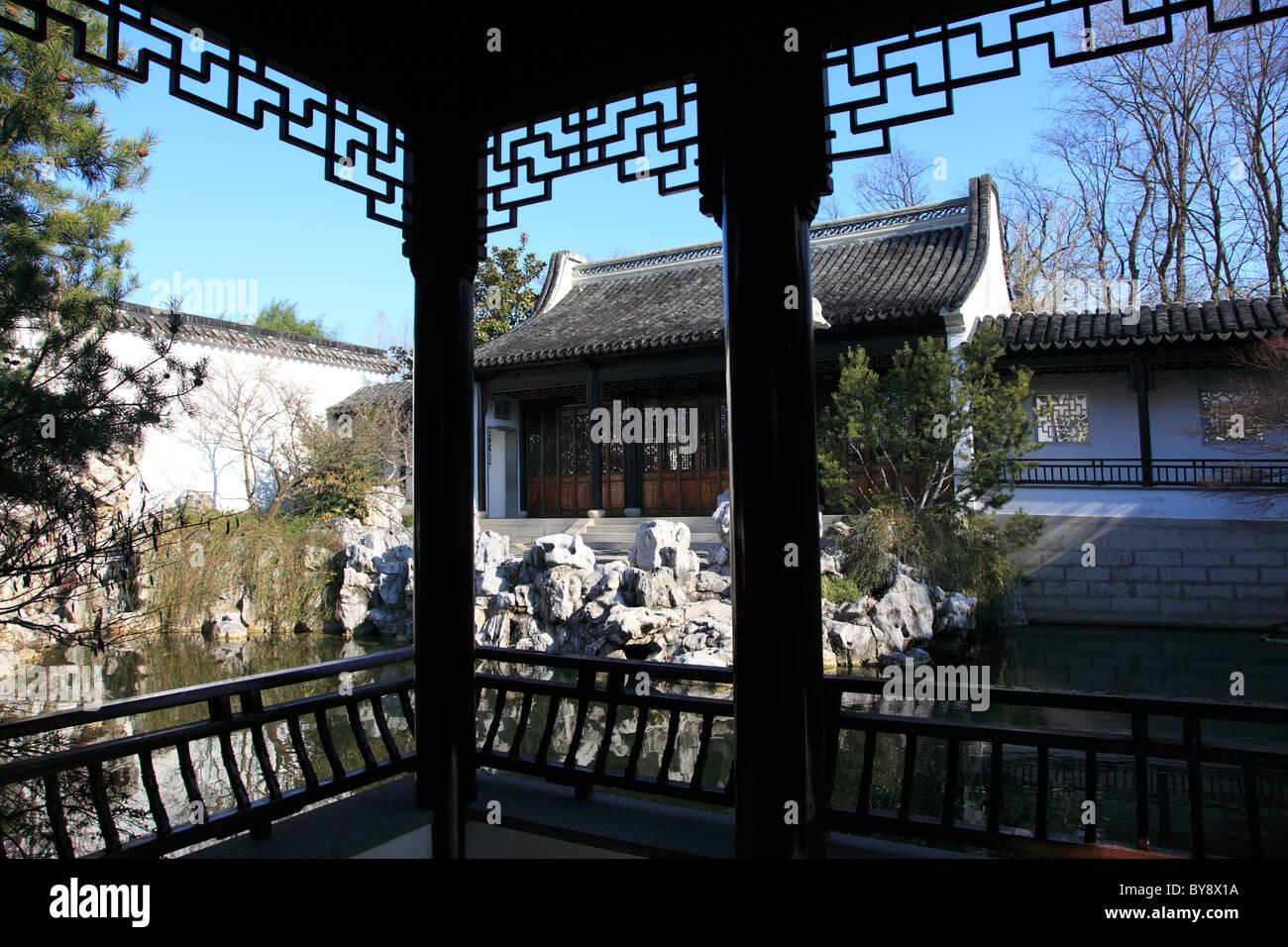 Chinese Scholar's Garden, Snug Harbor Cultural Center and Botanical Garden, Richmond Terrace, Staten Island, New - Stock Image