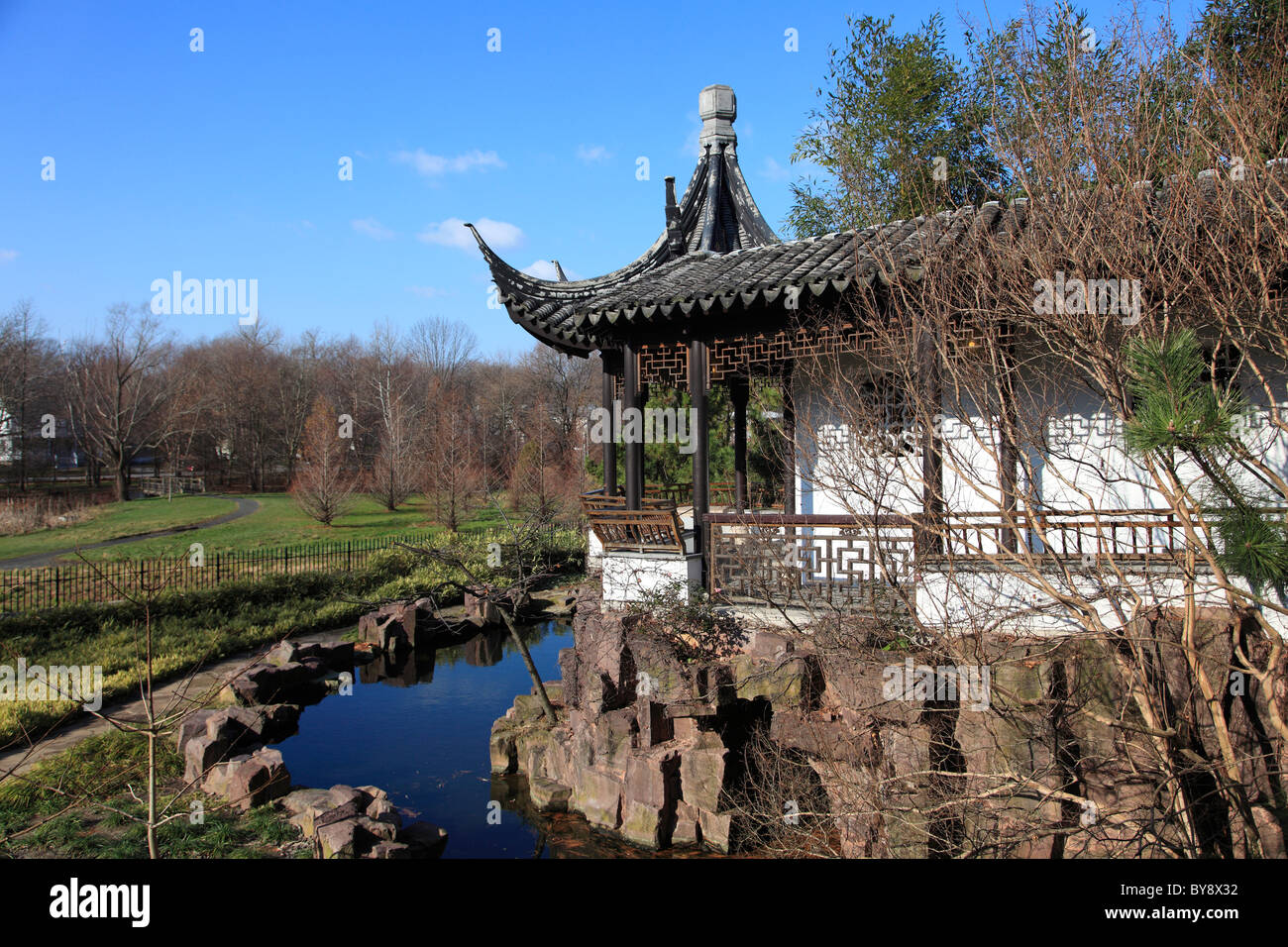 Chinese Scholar's Garden, Snug Harbor Cultural Center and Botanical Garden, Richmond Terrace, Staten Island, New - Stock Image