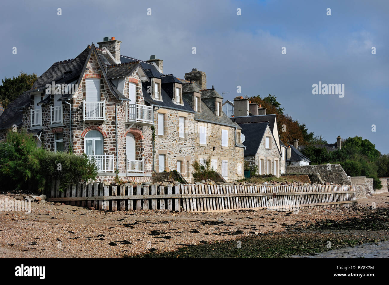 Typical house on the beach at Morsalines, Normandy, France - Stock Image