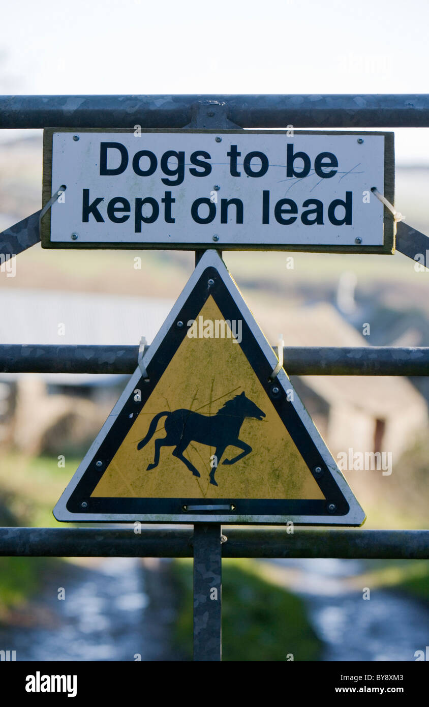 Dog sign Dogs to be kept on lead signpost Farm, Wales - Stock Image