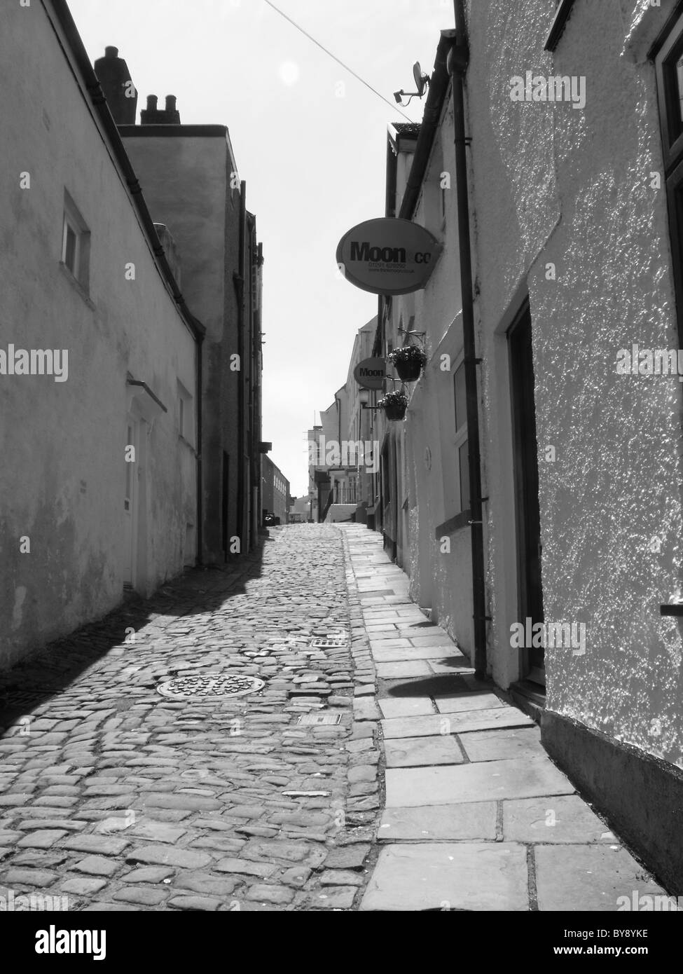 Black and white streetscene, old world - Stock Image