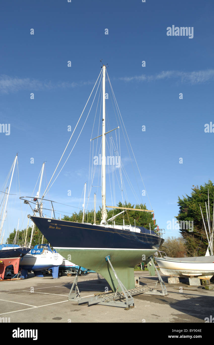 Sailing Boat in dry dock Chichester Harbour West Sussex - Stock Image