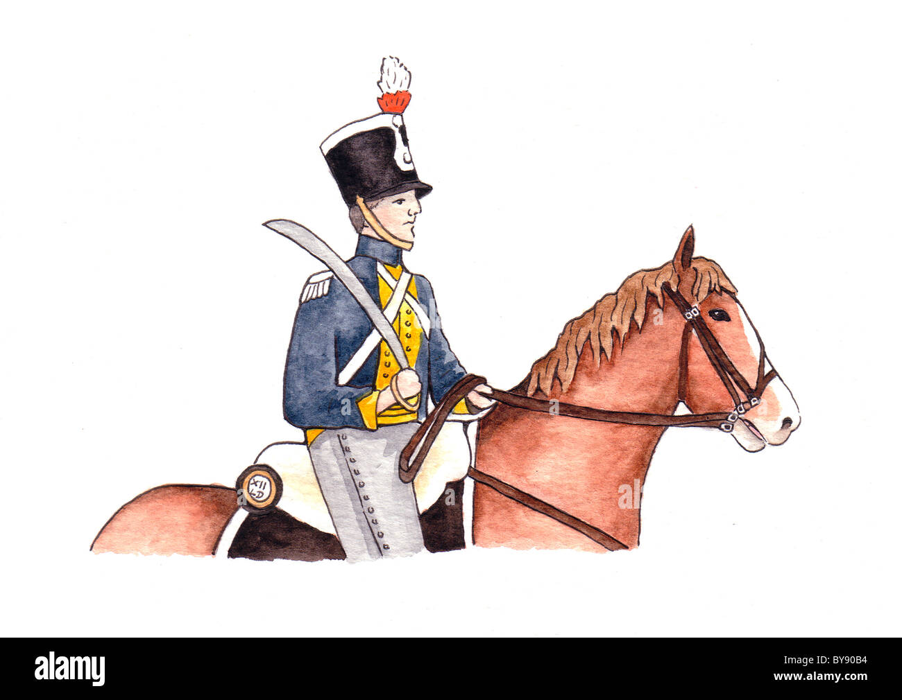 Hussar on horse - Stock Image