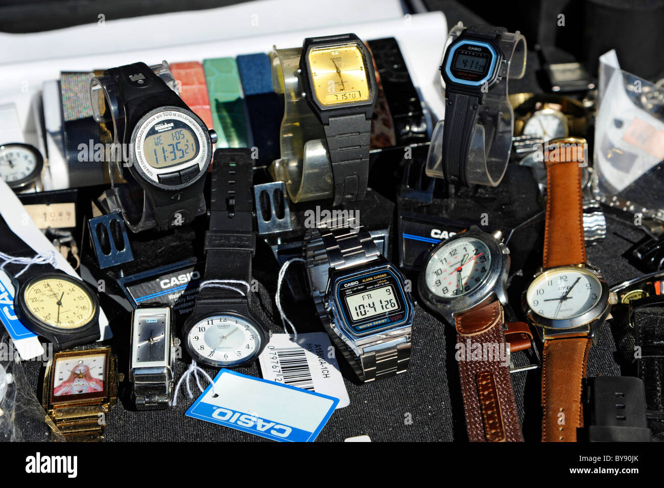 Collection pattern of watches and other time pieces - Stock Image