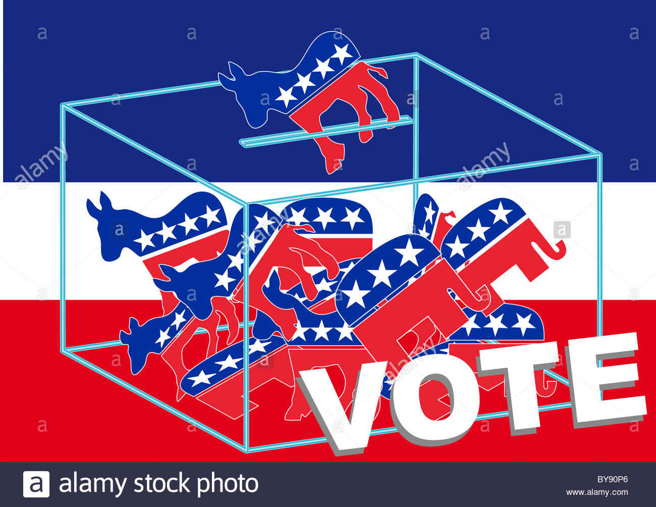 Vote Democratic over a blue, white and red background - Stock Image