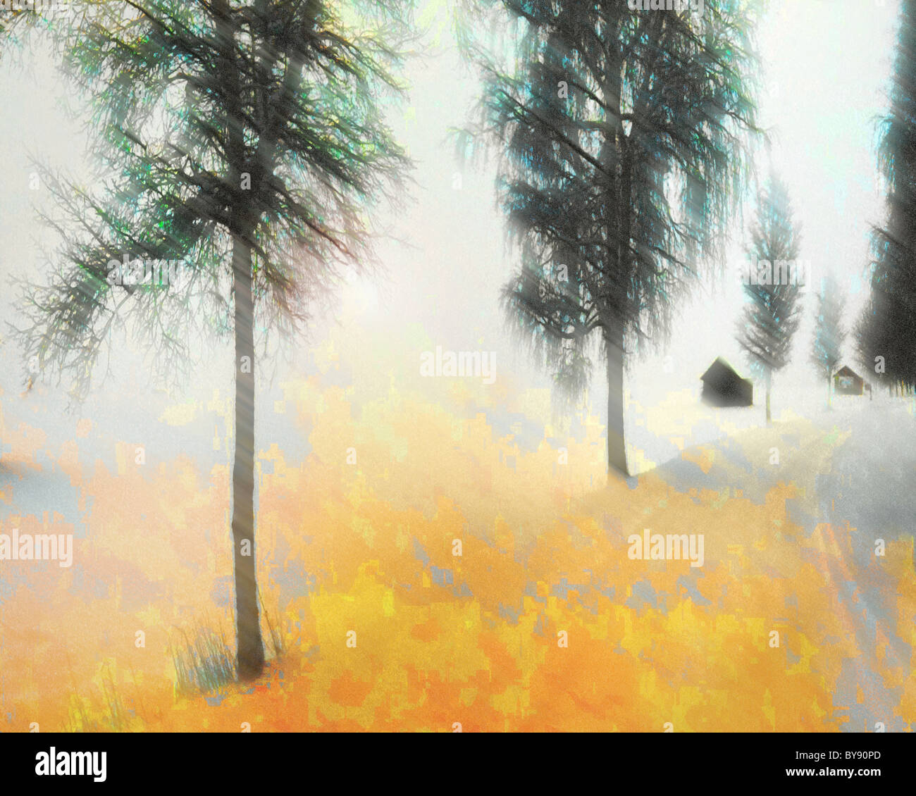 DIGITAL ART: Winter Scene (Germany/Bavaria) - Stock Image