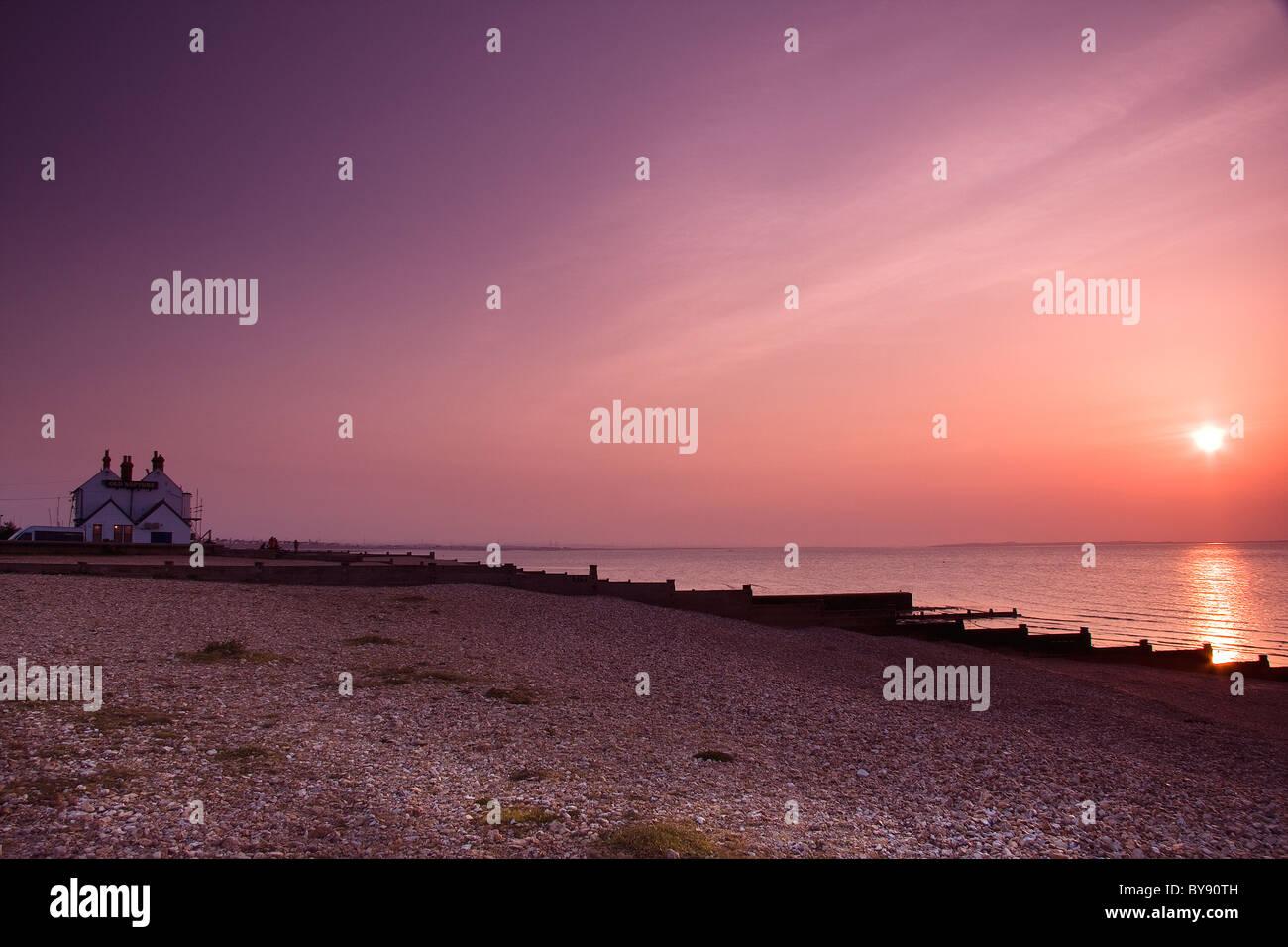 Whitstable sunset - Stock Image