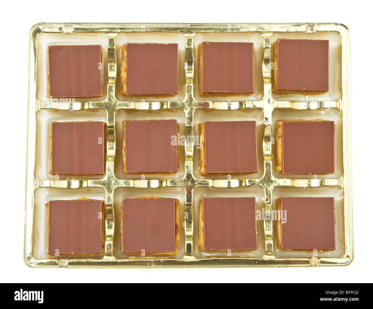 Abstract background of chocolate covered shortbread. - Stock Image