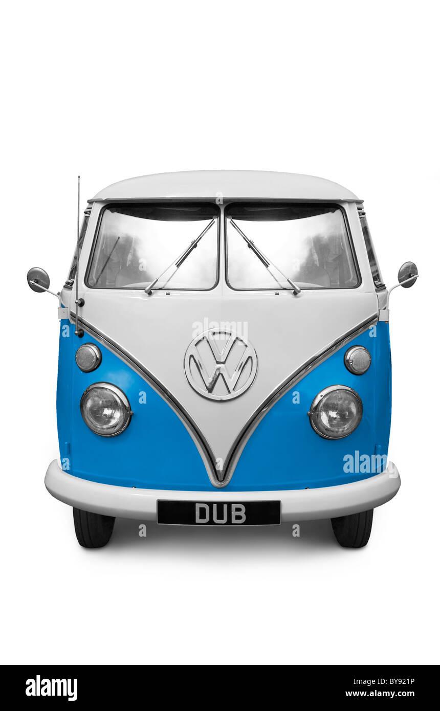 VW Devon Camper - Blue, colour can be adjusted using Hue/Sat. - Stock Image
