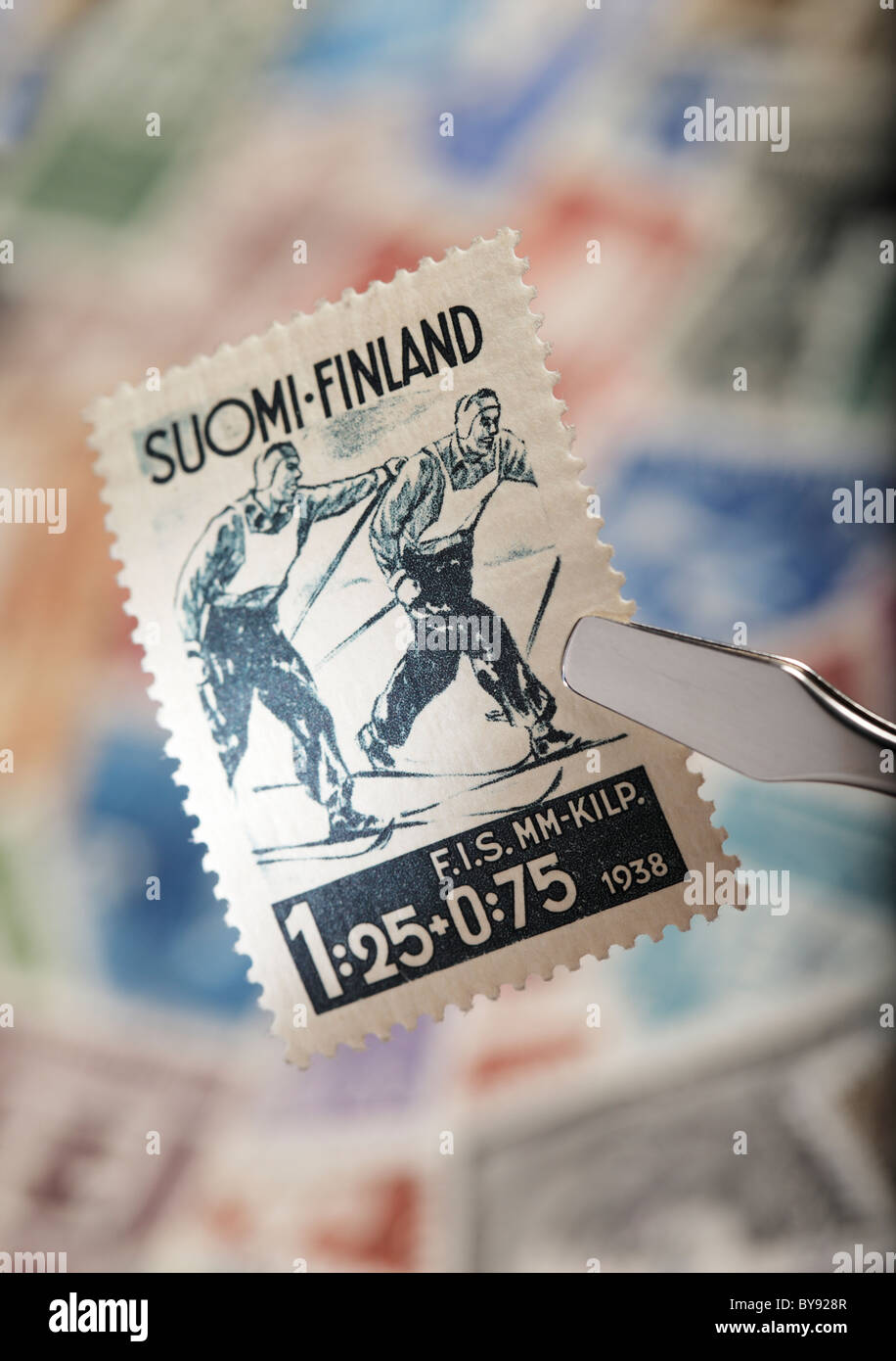 Finnish commemorative stamp from 1938. FIS Nordic World Ski Championships in Lahti. - Stock Image