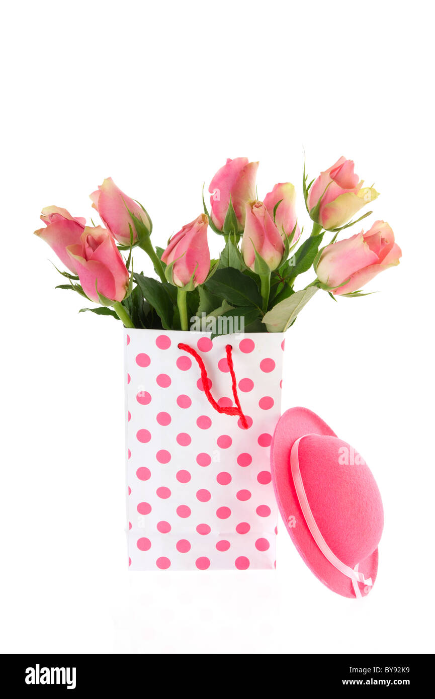 Bouquets of pink roses in dotted bags stock photo 34005757 alamy bouquets of pink roses in dotted bags izmirmasajfo