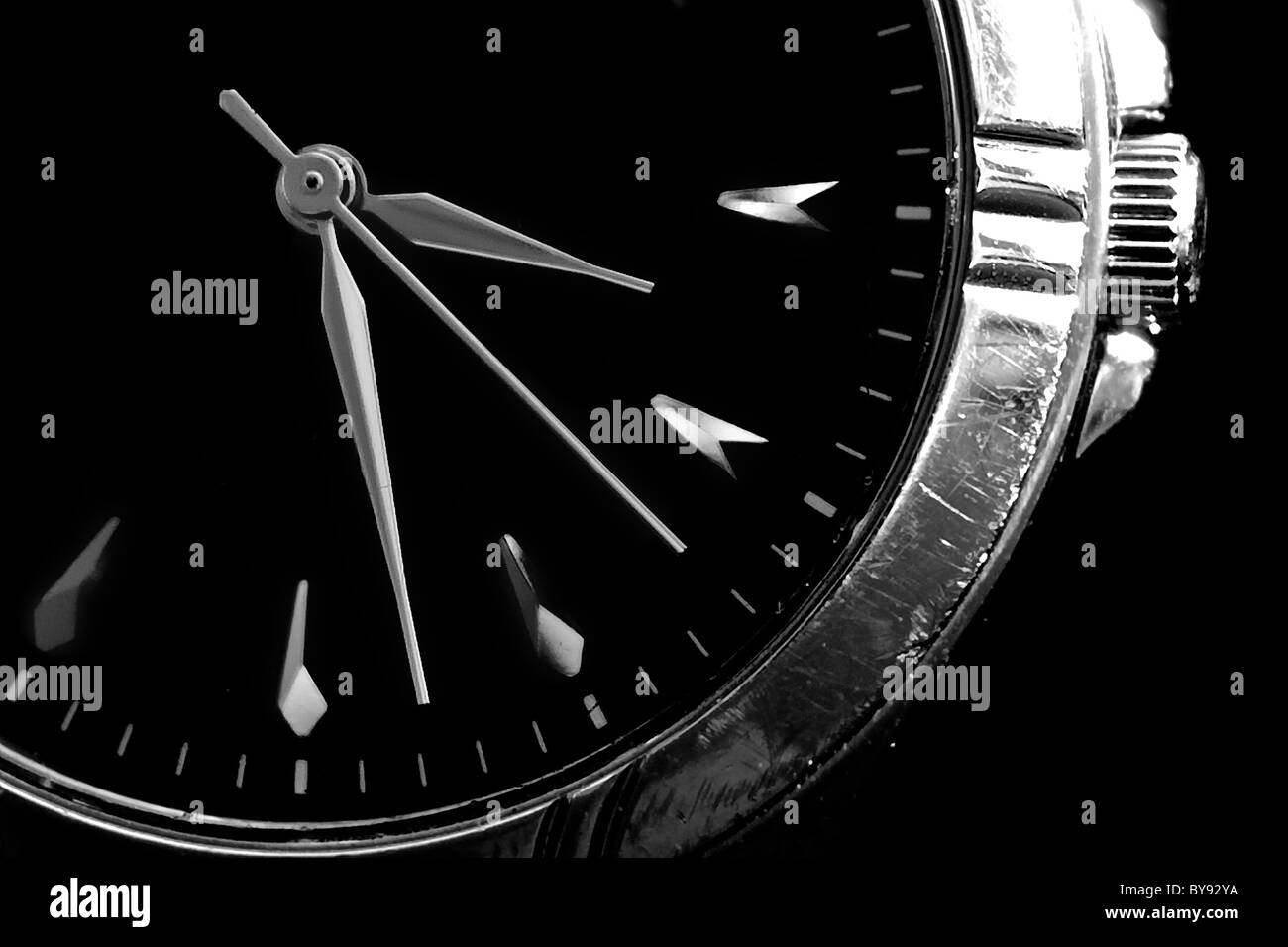 A watch with all three hands in Black and White. - Stock Image