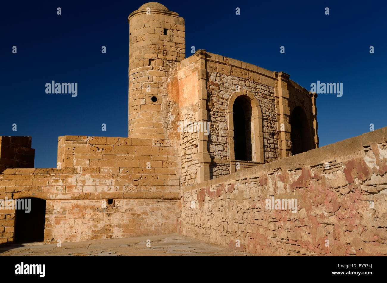 Ancient stone of Sqala de la Ville North Bastion on the rampart at Essaouira Morocco - Stock Image