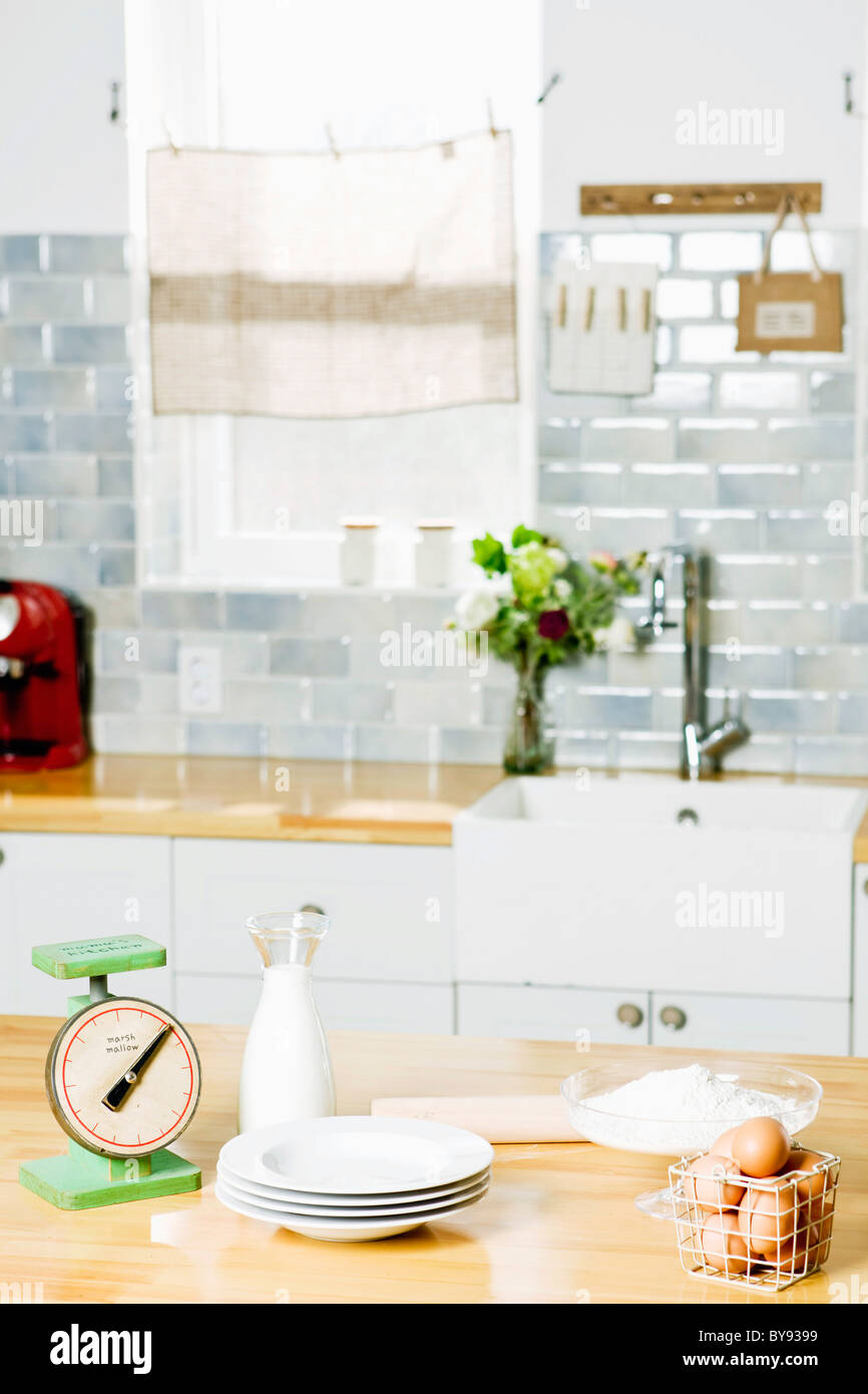 Kitchen counter with baking materials - Stock Image