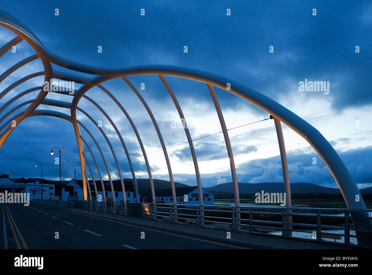 Display Lighting on the Contemporary Bridge to Achill Island at Achill Sound, County Mayo, Ireland - Stock Image