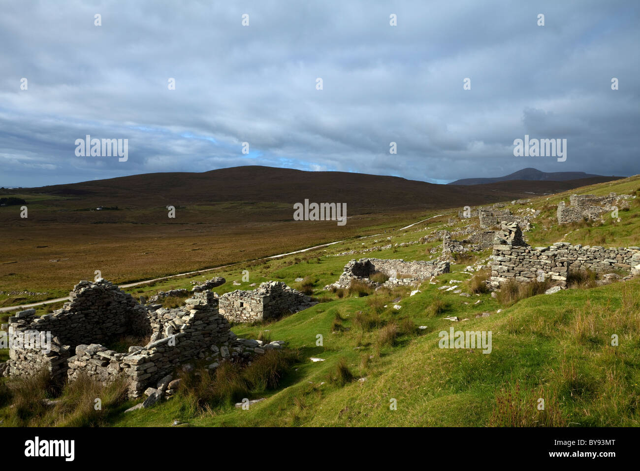 The Missionary Settlement - or Deserted Village, On the slopes of Slievemore, Achill Island, County Mayo, Ireland - Stock Image