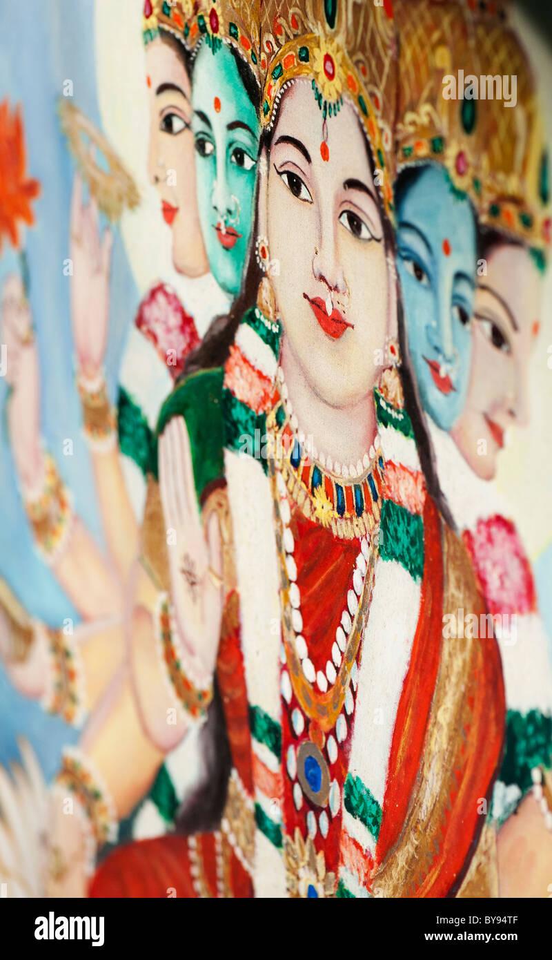 Hindu goddess Gayatri depicted on an Indian painting. Andhra Pradesh, India. Shallow DOF - Stock Image