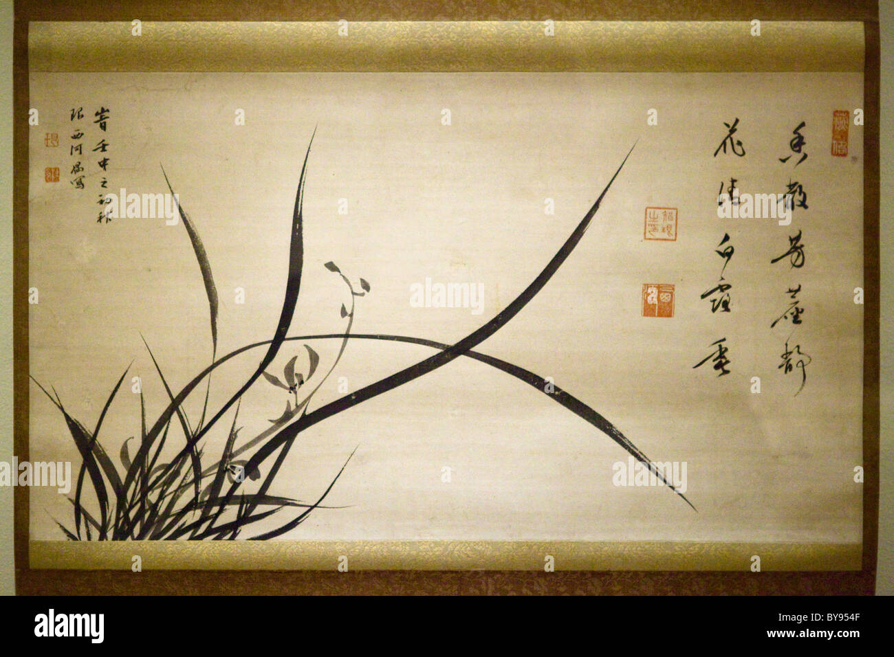 17th century Chinese orchid ink painting - Qing dynasty - Stock Image