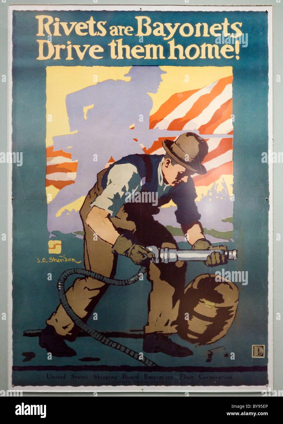 US Shipping Board Emergency Fleet Corporation poster - USA - Stock Image