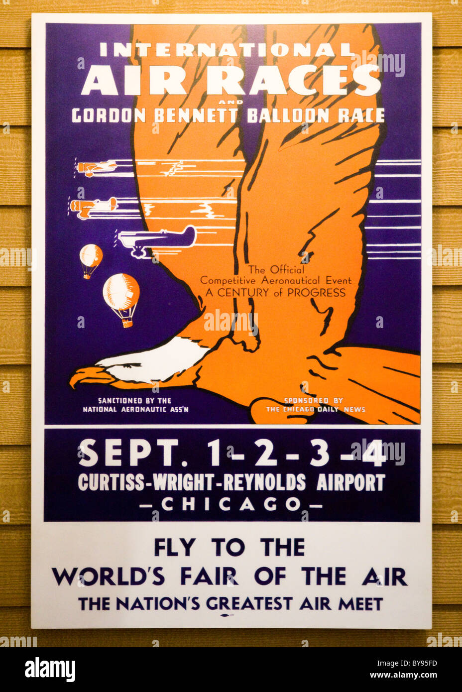 Antique early 20th century International Air Races poster - USA - Stock Image