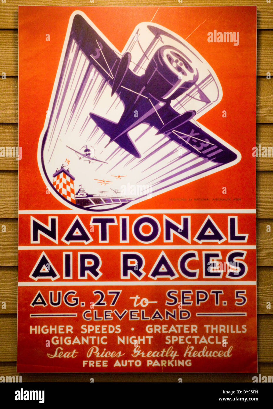 Antique early 20th century National Air Races poster - USA - Stock Image
