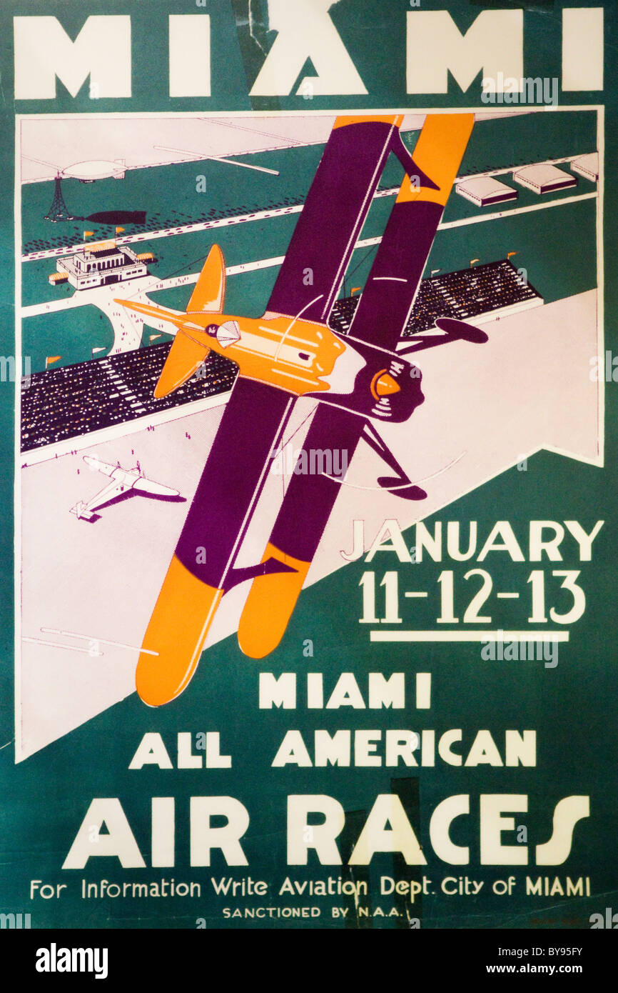Antique early 20th century Air Races poster - USA - Stock Image