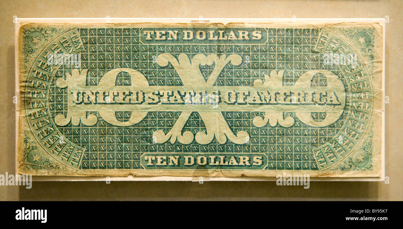 Reverse view of rare 1861 $10 US banknote (original 'greenback') - Stock Image