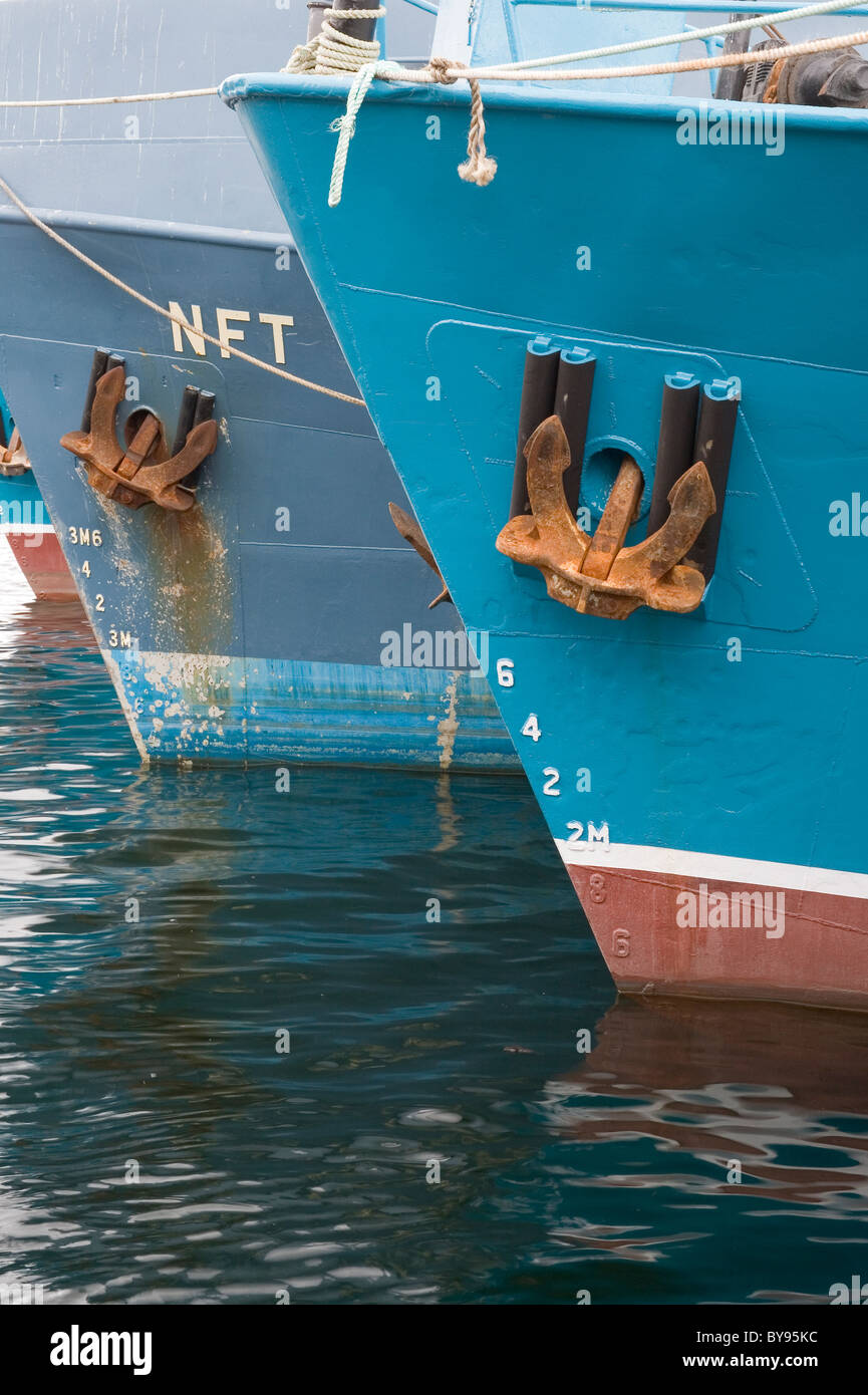 The bows of ships with anchors - Stock Image